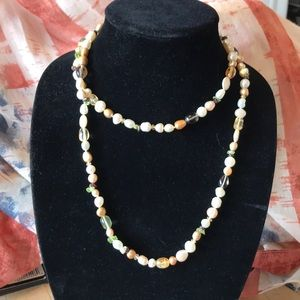 Honora pearl and gemstone bead necklace